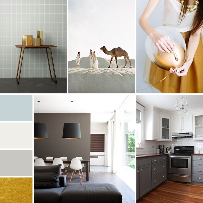 Blue, Gray & Gold Mood Board | Earl Grey Creative