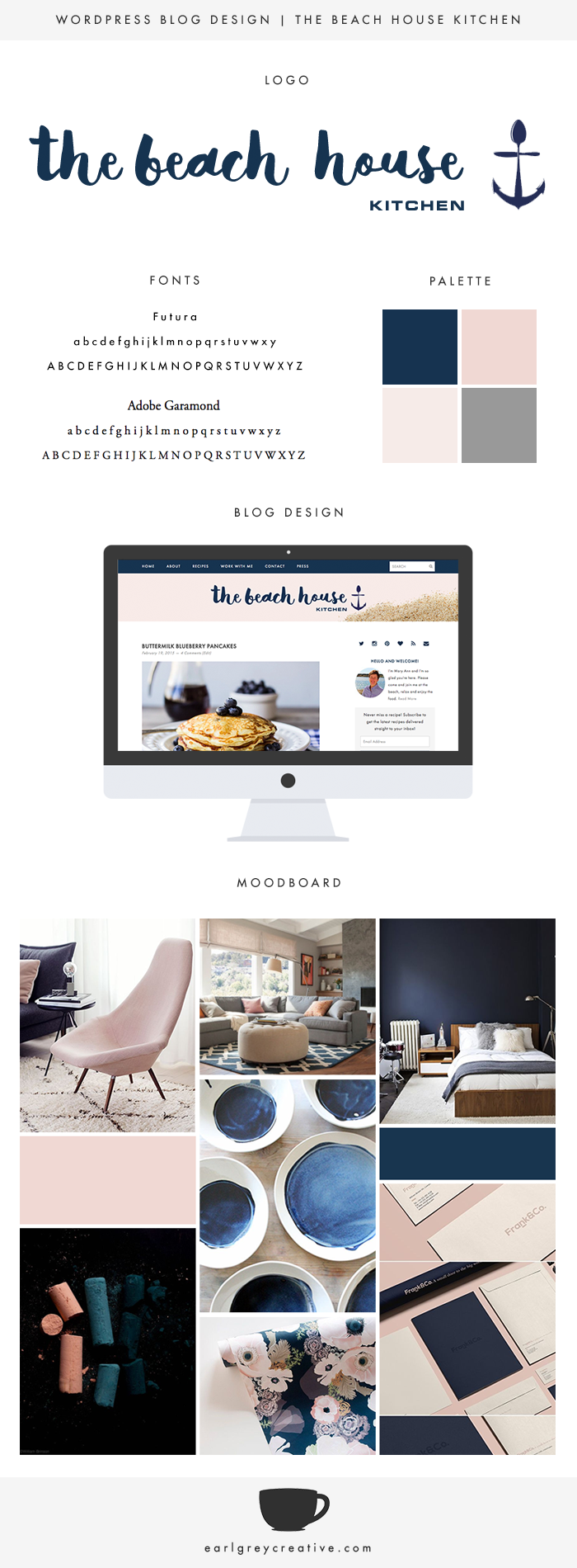 Wordpress Blog Design for The Beach House Kitchen | Earl Grey Creative